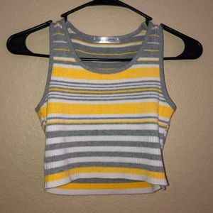 Small grey and yellow striped crop top